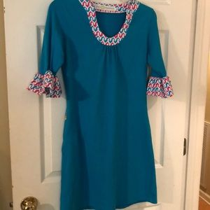 Tracy Negoshian aqua jersey knit dress size S